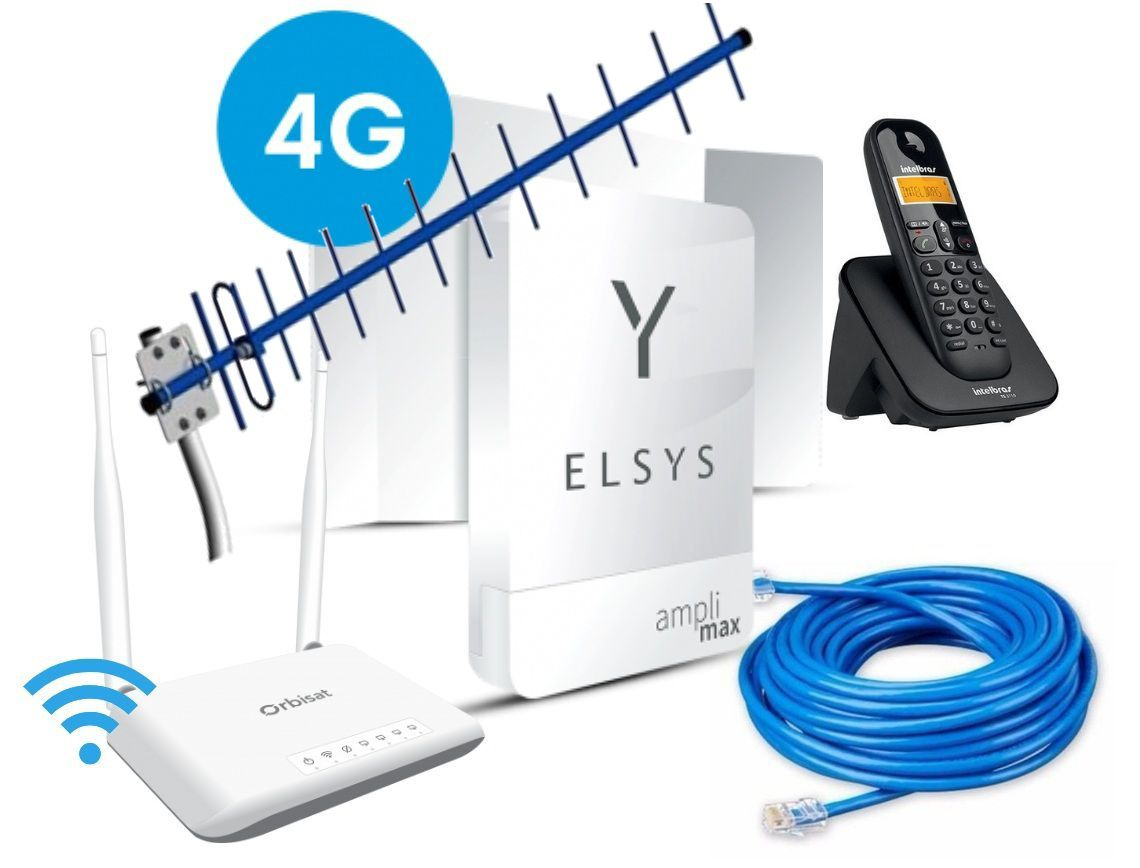 Amplimax 4g + Roteador +Telefone S Fio + Cabo Rede + Antena 18dB