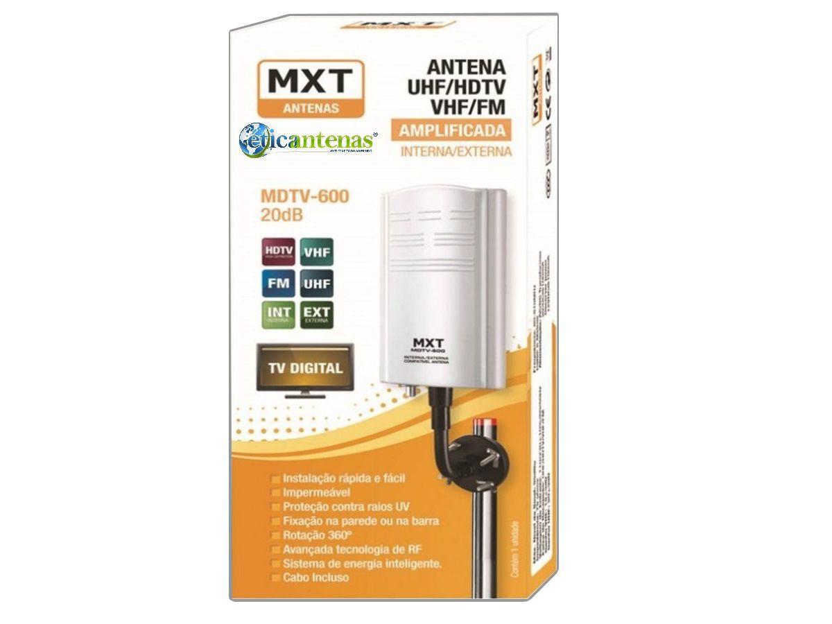 Antena Digital Interna Externa Amplificada 20db Mdtv-600 MXT ajustável 360º