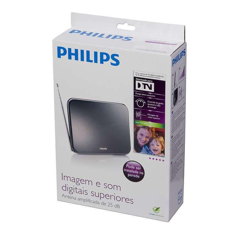 Antena Digital Interna Philips Amplificada 25dB Preto SDV7225T/55