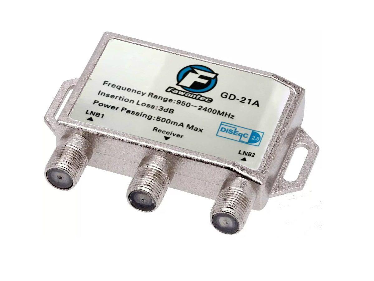 Chave Diseqc 2.0 1x2 Frequência 950-2400Mhz