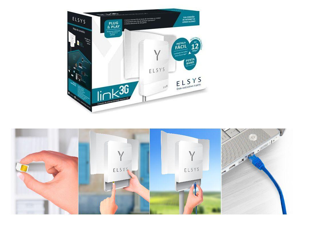 Kit Link 3G Elsys Amplificador Para Área Rural + Roteador Wifi e Poe