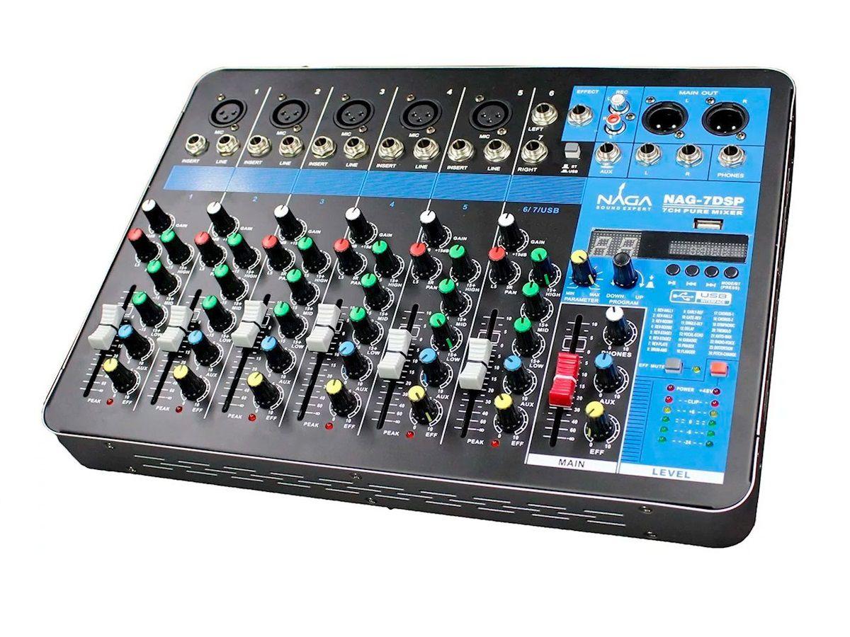 Mesa de Som Naga Console de Mixagem Profissional Nag-7dsp 7 Canais 24 Efeitos Bluetooth