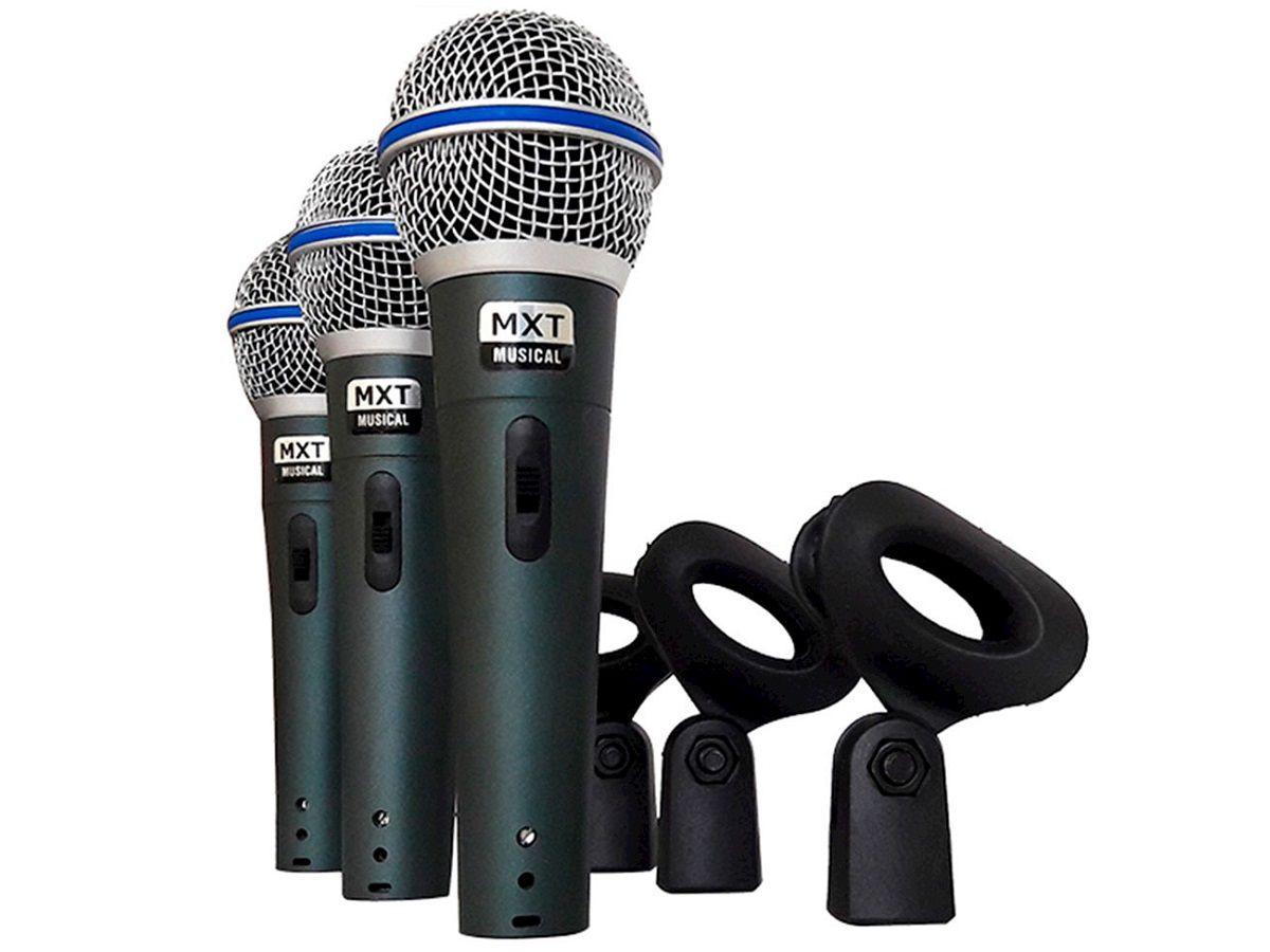 Microfone Dinâmico de Metal 3 Peças Profissional Com Maleta e Cachimbo