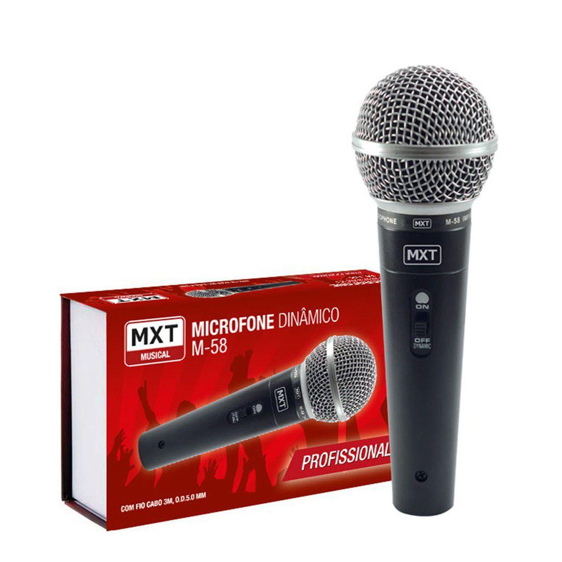 Microfone Dinâmico M58 Profissional Com Fio Cabo 3 Metros OD. 5.0 MM