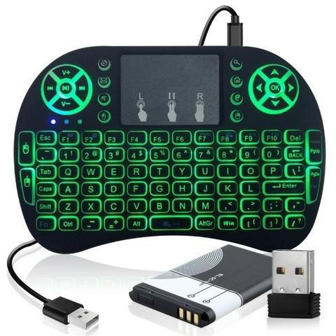 Mini Teclado Keyboard Wireless Iluminado Smart Tv Box Pc Ps4