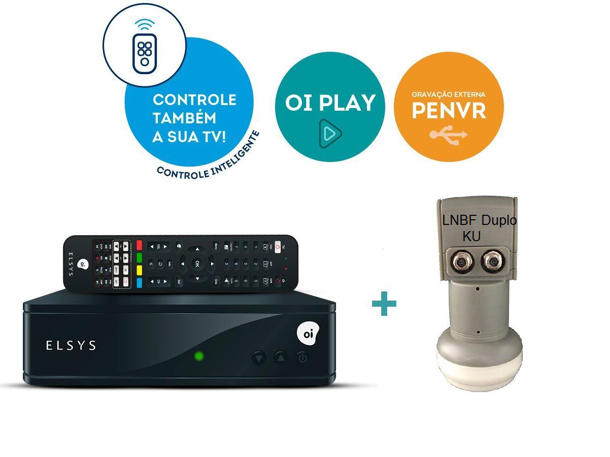 Receptor Digital Elsys Oi Tv Hd Etrs44 + Lnb Duplo Universal