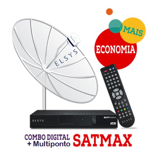 Receptor SatMax + Parabólica 1,70 Multiponto + Cabo