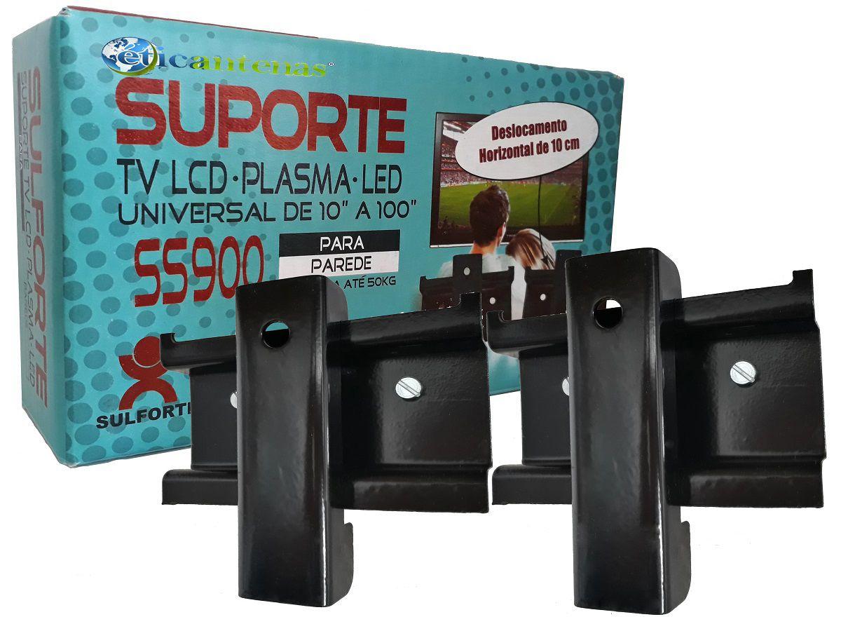 "Suporte p/ TV Fixo LCD, LED e Plasma Universal de 10""  à 100"""