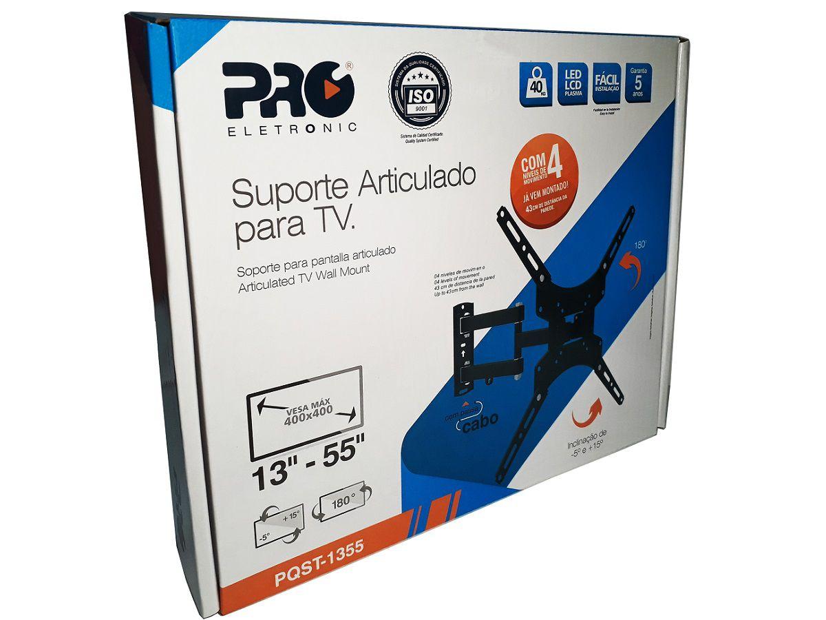 Suporte Tri Articulado Para TV LED, LCD e Plasma de 13 a 55 Polegadas 4 Níveis de Movimento Vesa Max 400x400 PQST-1355