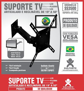 Suporte Tv Universal Articulado 19 A 50 Ss3500 Sulforte