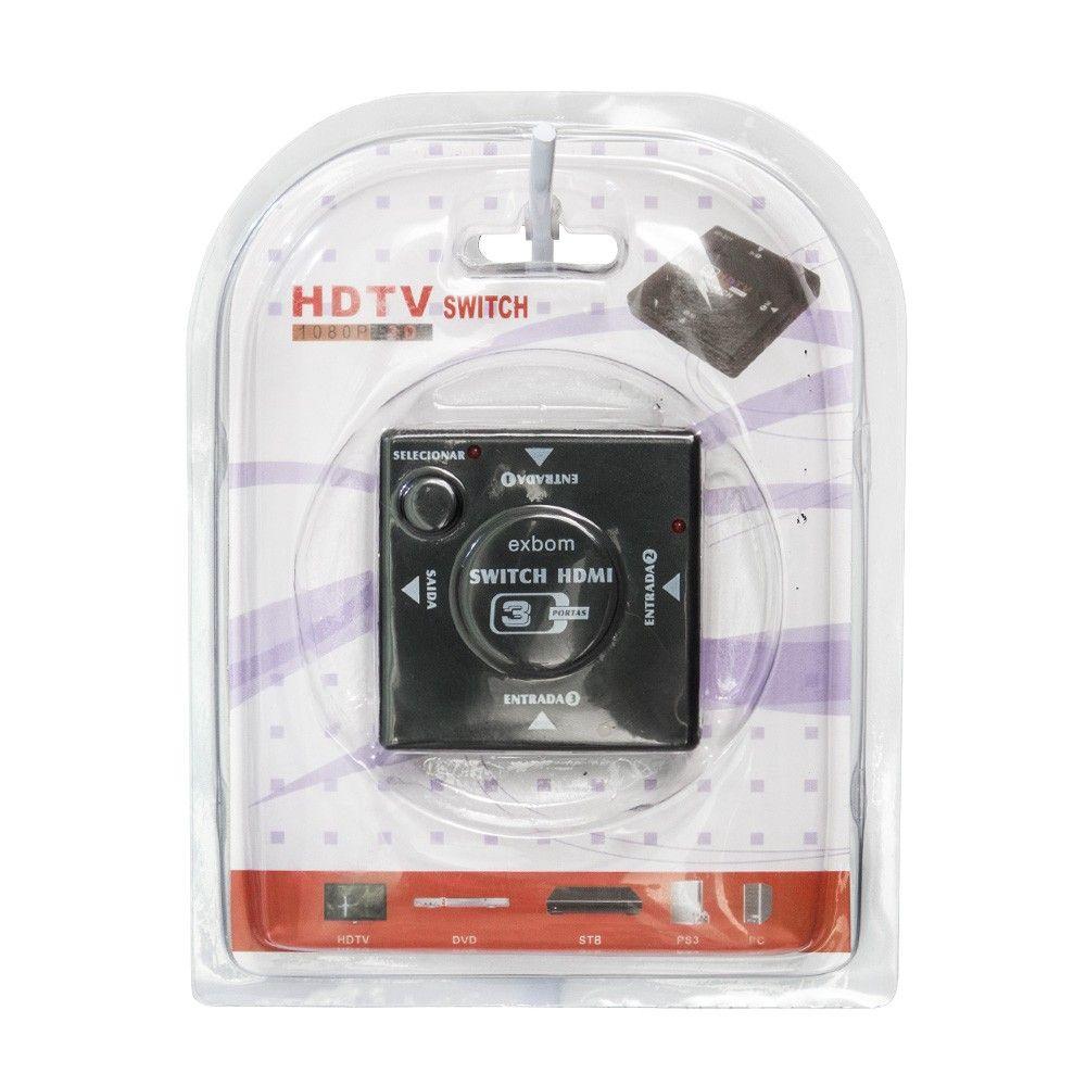 Switch HDMI Chaveador 3 Entradas e 1 Saída 1.4 Exbom