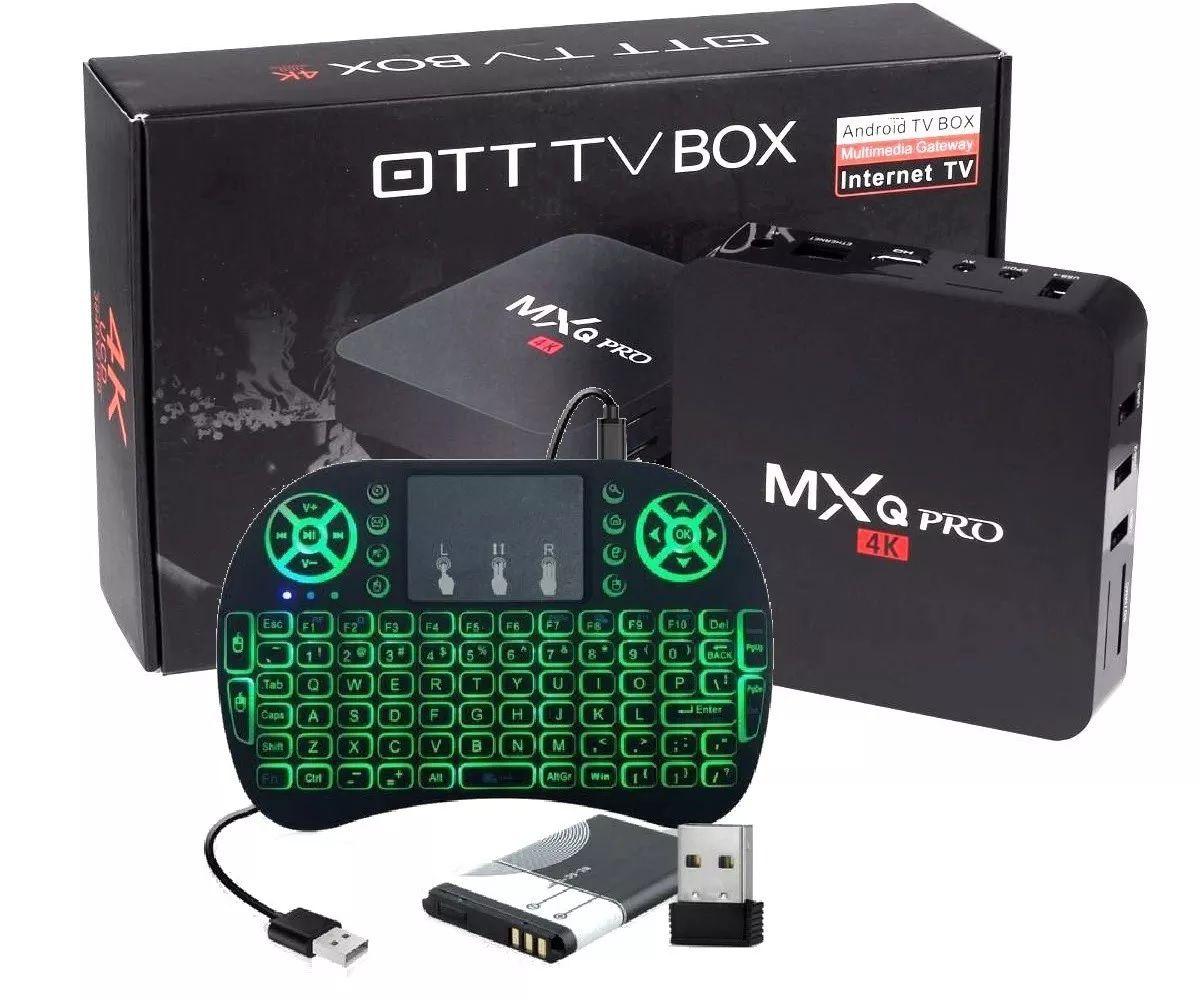 Tv Box 4K Ultra HD Android Multimídia Gateway Internet TV + Teclado