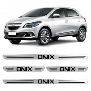 Jogo Soleiras Resinadas de Porta Personalizada Onix 2013 a 2020 4 Peças Aço Escovado (SLR03)