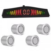 Kit Sensor de Estacionamento Ré 4 pontos Prata LED Colorido (KSE02)