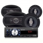 Kit Som Automotivo Multilaser Mp3 One USB + 1 Par Alto-Falantes 6