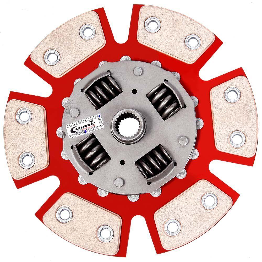 Disco Embreagem Cerâmica 6 pastilhas com molas Escort GL GLX 1.8 16v Zetec - 97 98 99 2000 2001 2002 2003 Ceramic Power