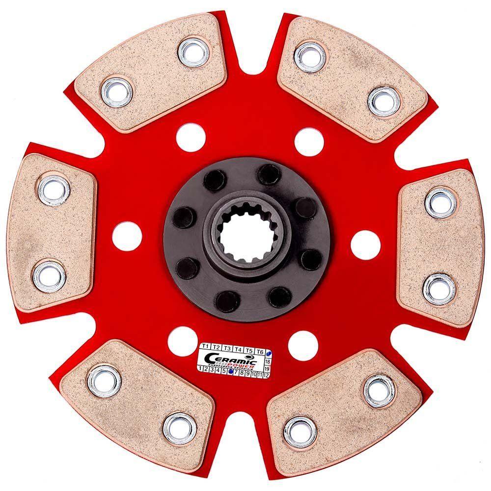 Disco Embreagem Cerâmica 6 pastilhas sem molas Chevette 1.0 1.4 1.6 - 73 a 95, Chevy 500 Marajó 1.4 1.6 - 80 a 95 Ceramic Power