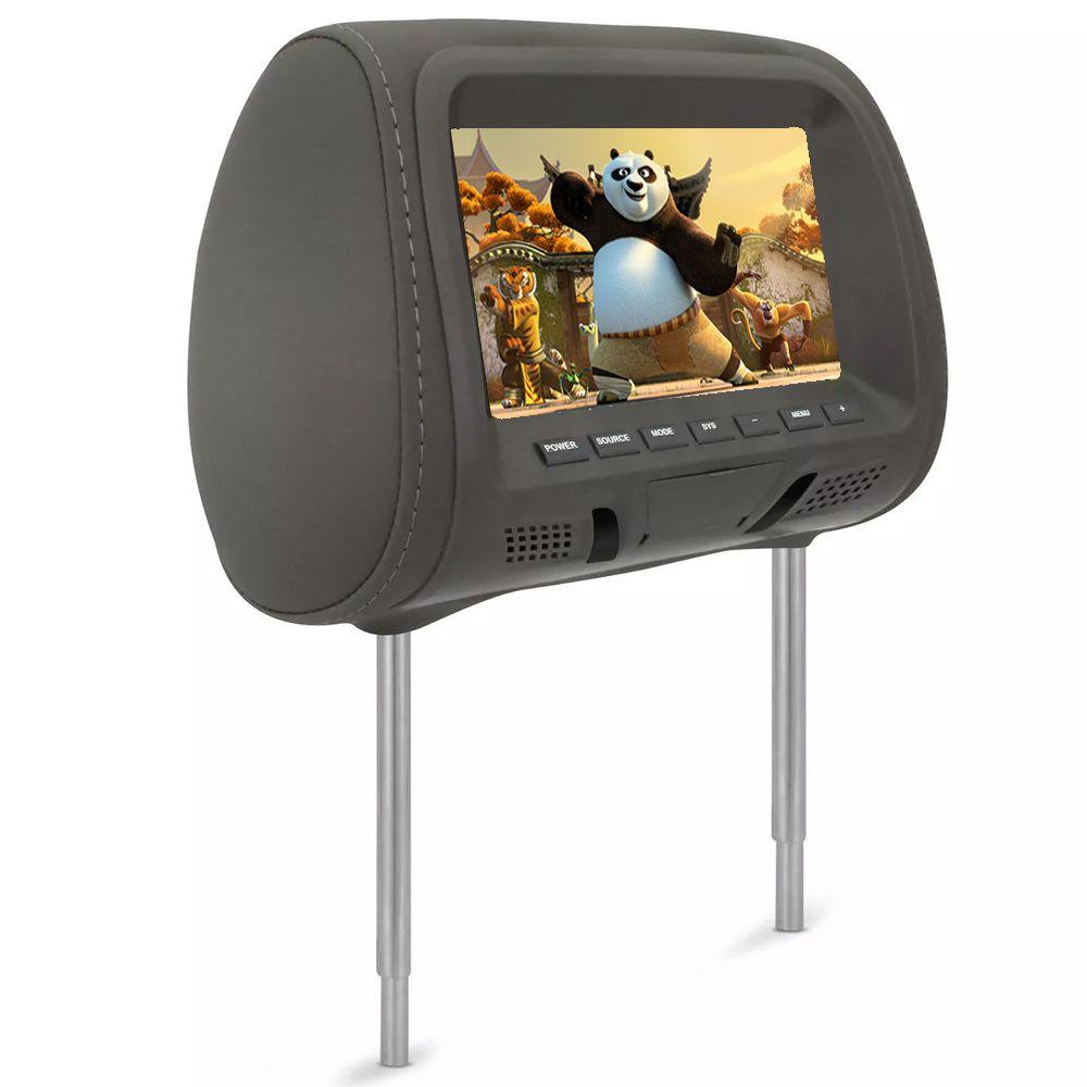 Encosto de Cabeça Tela 7 polegadas LCD Cinza Tipo Escravo com Controle Remoto