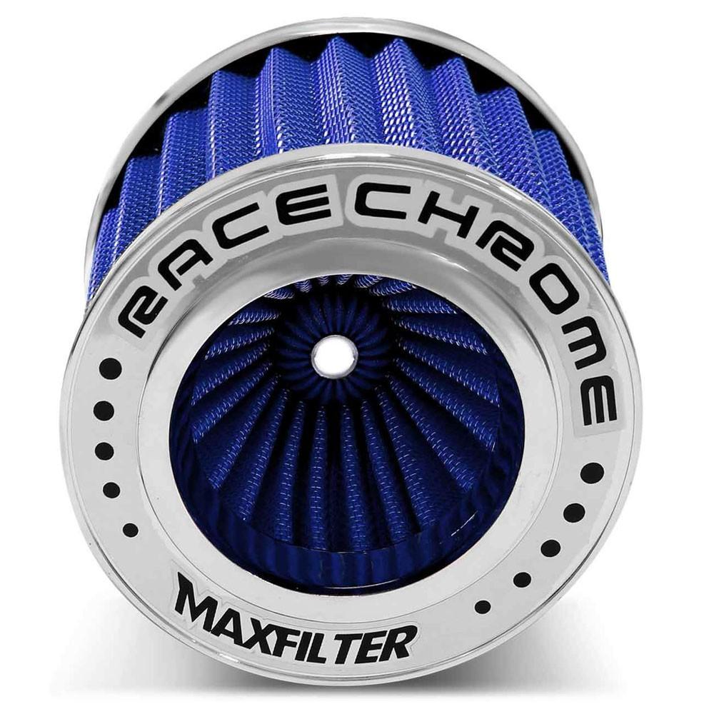 Filtro de Ar Esportivo Duplo Fluxo Maxfilter Race Chrome Azul