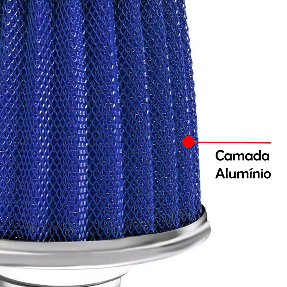 Filtro de Ar Esportivo Monofluxo Maxfilter Race Chrome Azul