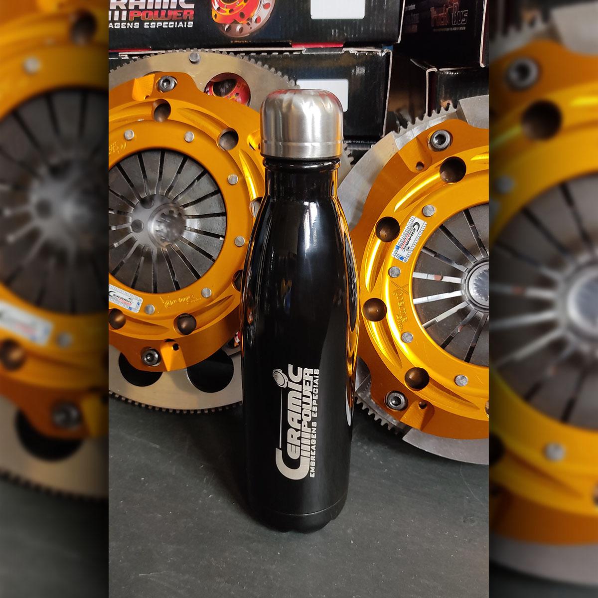 Garrafa Squeeze Aço Inox Preta Ceramic Power 750ml