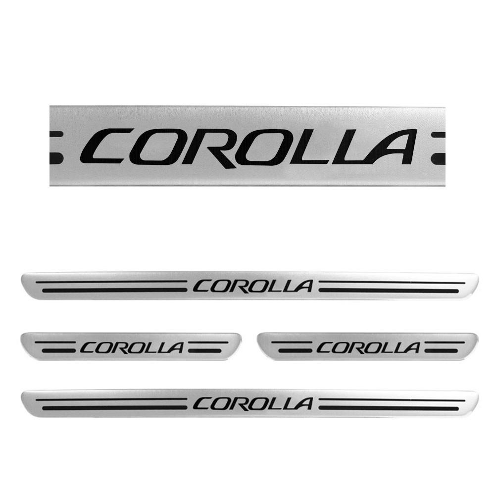 Jogo Soleiras Resinadas de Porta Personalizada Corolla 2014 a 2019 4 Peças Aço Escovado (SLR09)