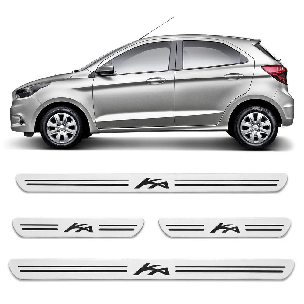 Jogo Soleiras Resinadas de Porta Personalizada Ford Ka 2014 a 2017 4 Peças Aço Escovado (SLR14)
