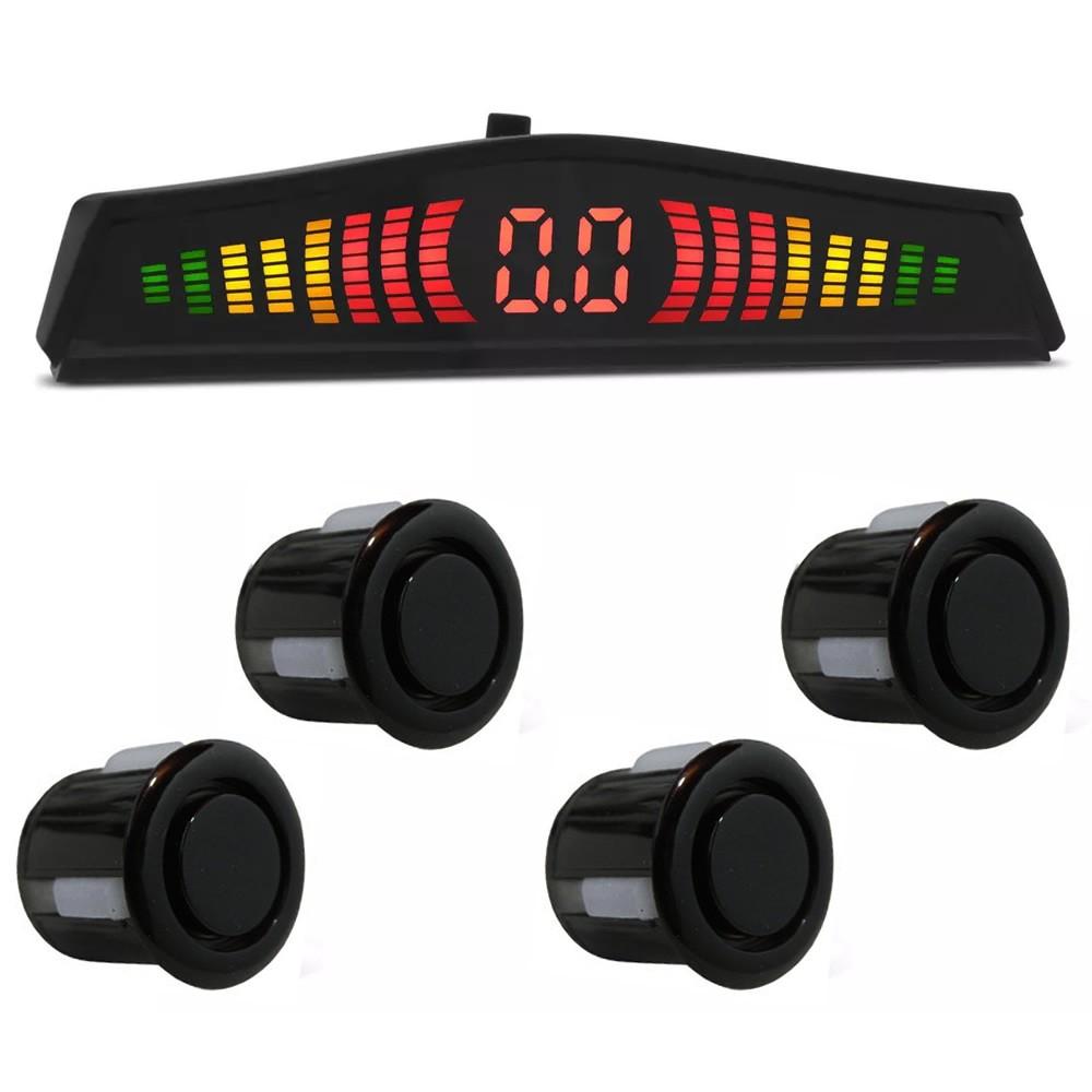 Kit Sensor de Estacionamento Ré 4 pontos Preto Standard LED Colorido (KSE04)