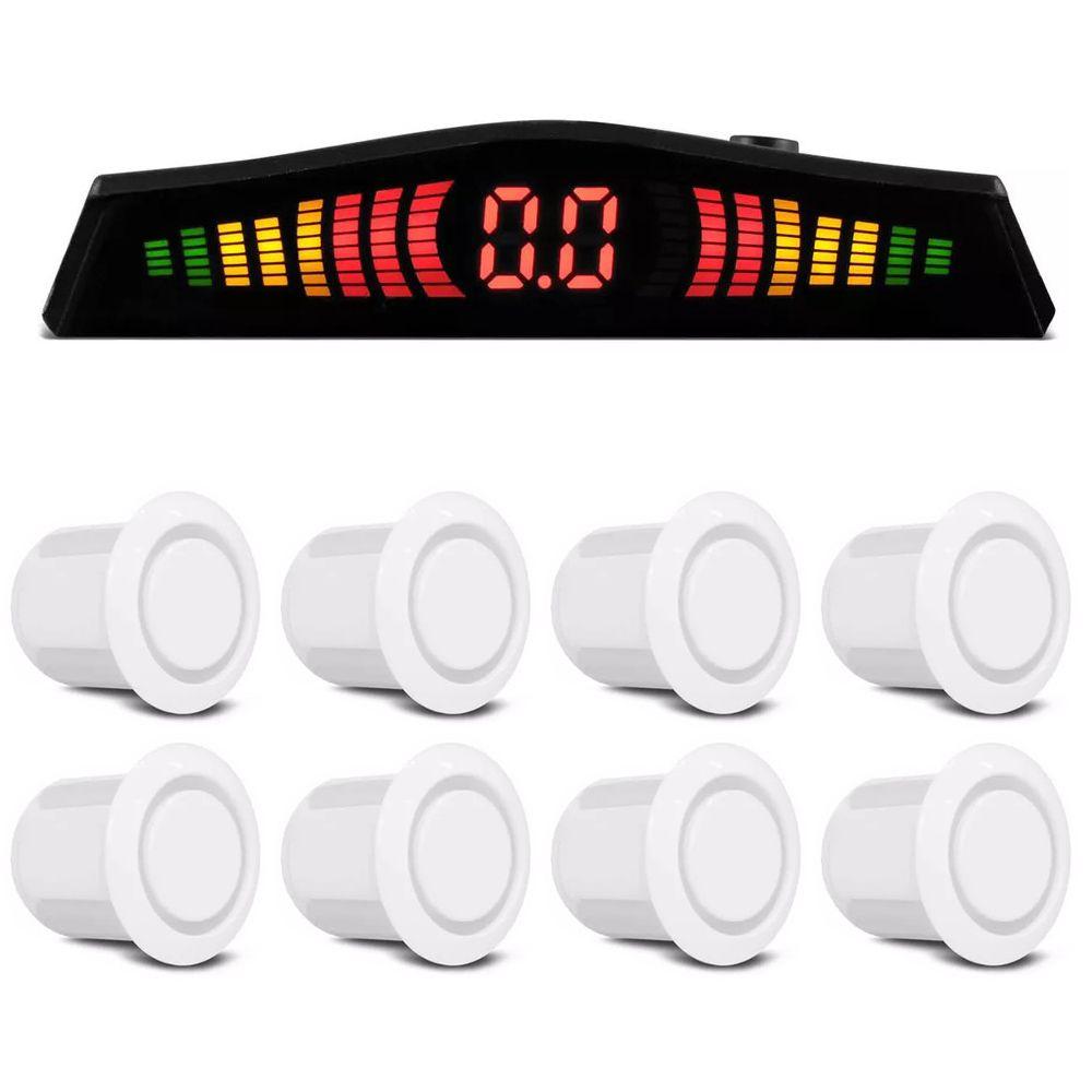 Kit Sensor de Estacionamento Ré 8 pontos Branco Standard LED Colorido (KSE07)