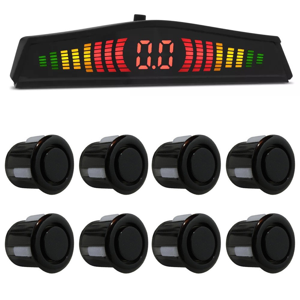 Kit Sensor de Estacionamento Ré 8 pontos Preto Standard LED Colorido (KSE06)
