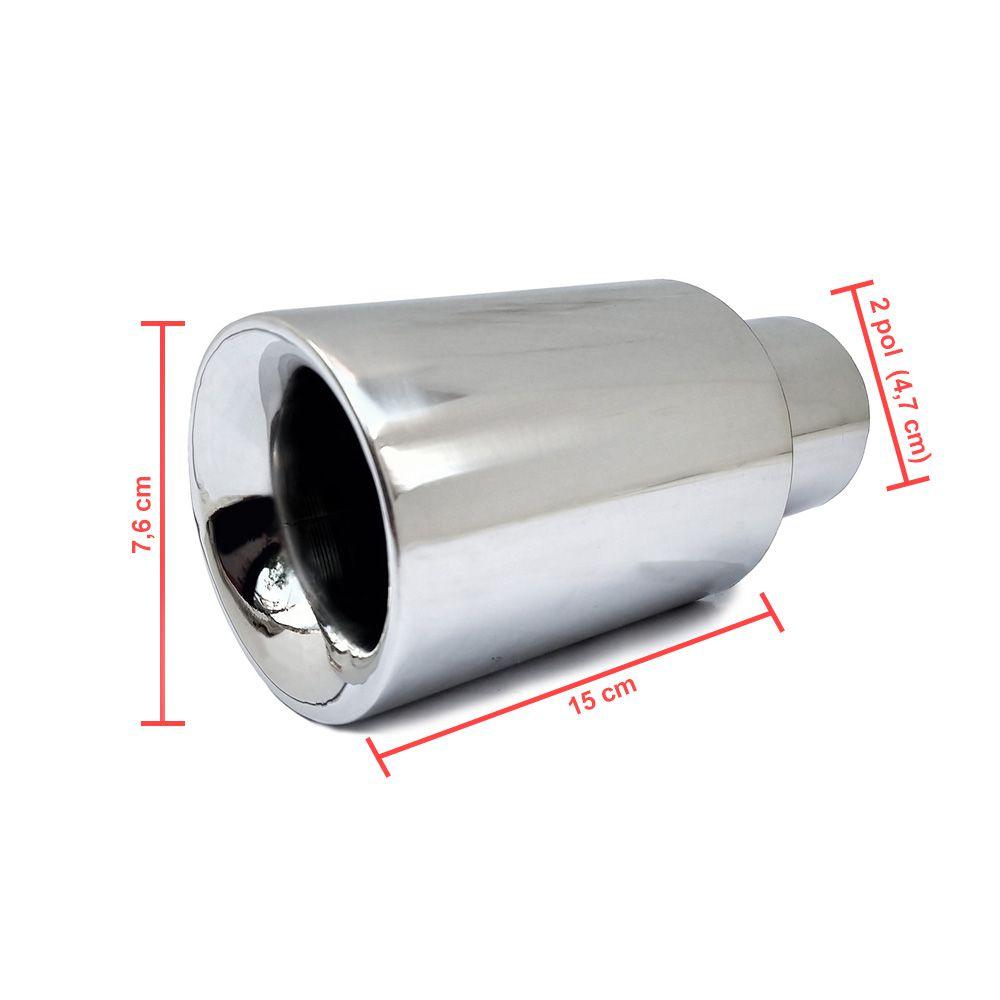 Ponteira Escapamento Esportiva Premium Reta 2 polegadas Cromada Aço Inox Superedition