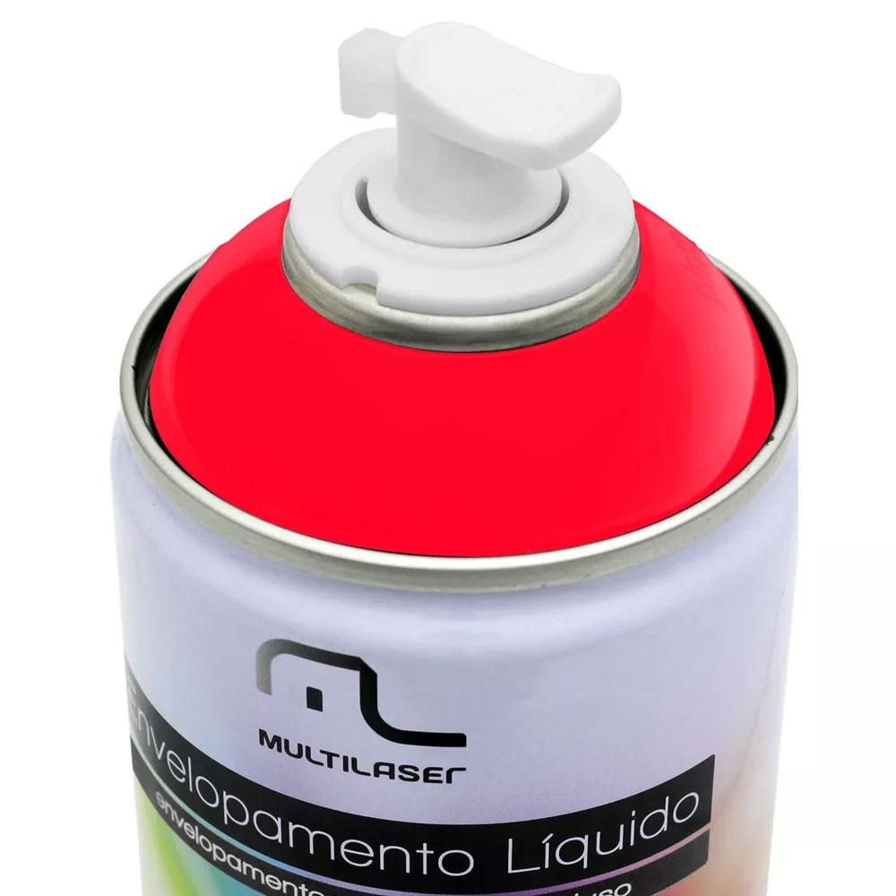 Spray de Envelopamento Líquido Multiuso Multilaser 400 ML Vermelho Fluorescente AU424 (EL04)