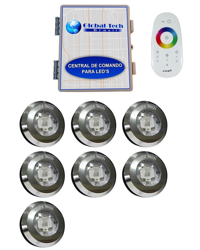 Led Piscina - Kit 7 Tiny Led INOX RGB + Central + Controle Touch
