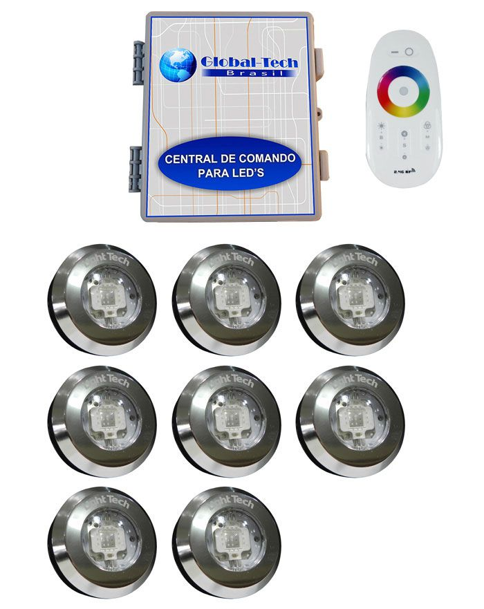 Led Piscina - Kit 8 Tiny Led INOX RGB + Central + Controle Touch