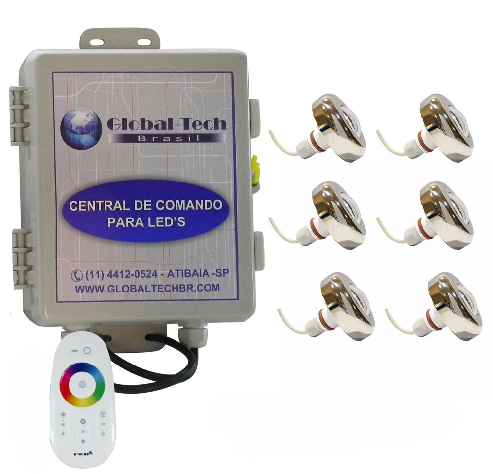 Led Piscina - Kit 6 Led Tholz 6W Inox RGB + Central + Controle Touch