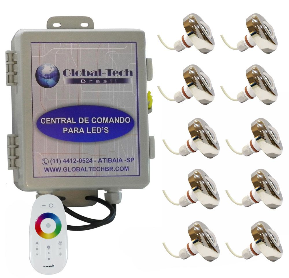 Led Piscina - Kit 10 Led Tholz 6W Inox RGB + Central + Controle Touch