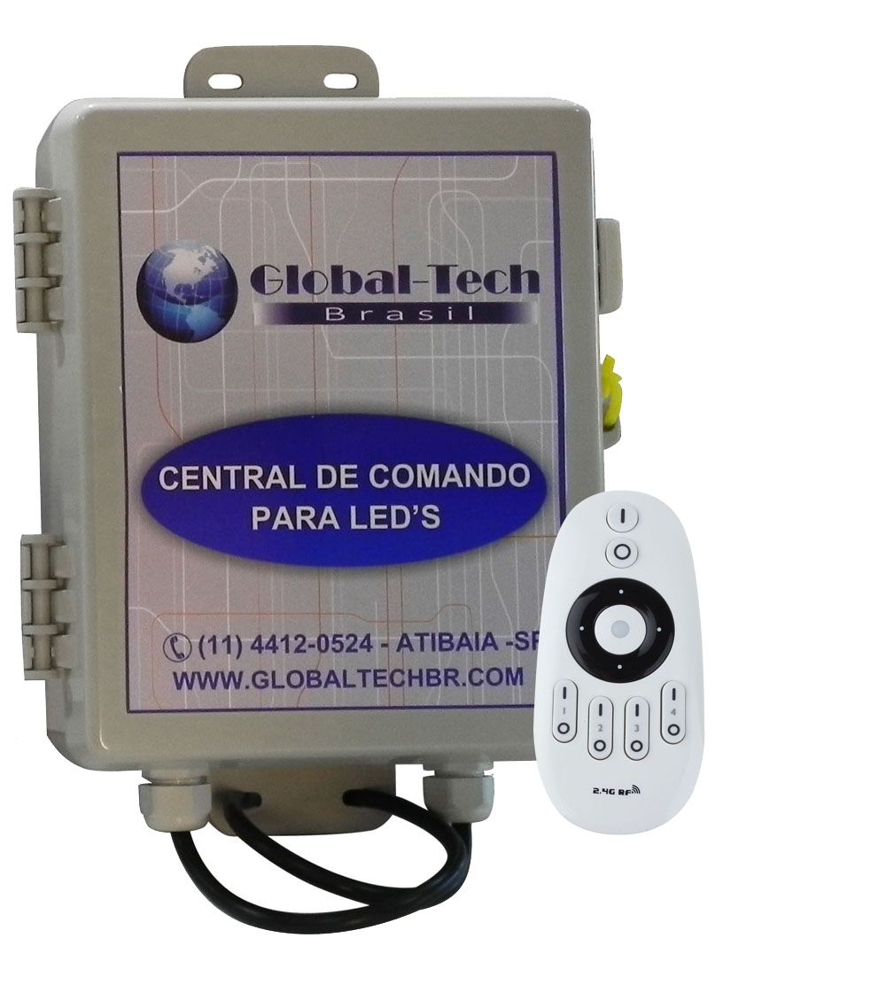 Central de Comando Leds Piscina Monocromático 2 Zonas  - 60w/5A