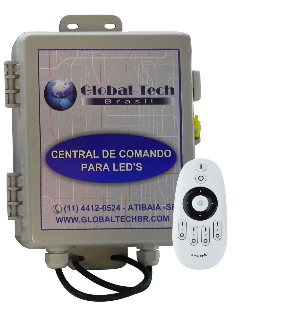 Central de Comando Leds Piscina Monocromático 2 Zonas  - 180w/15A