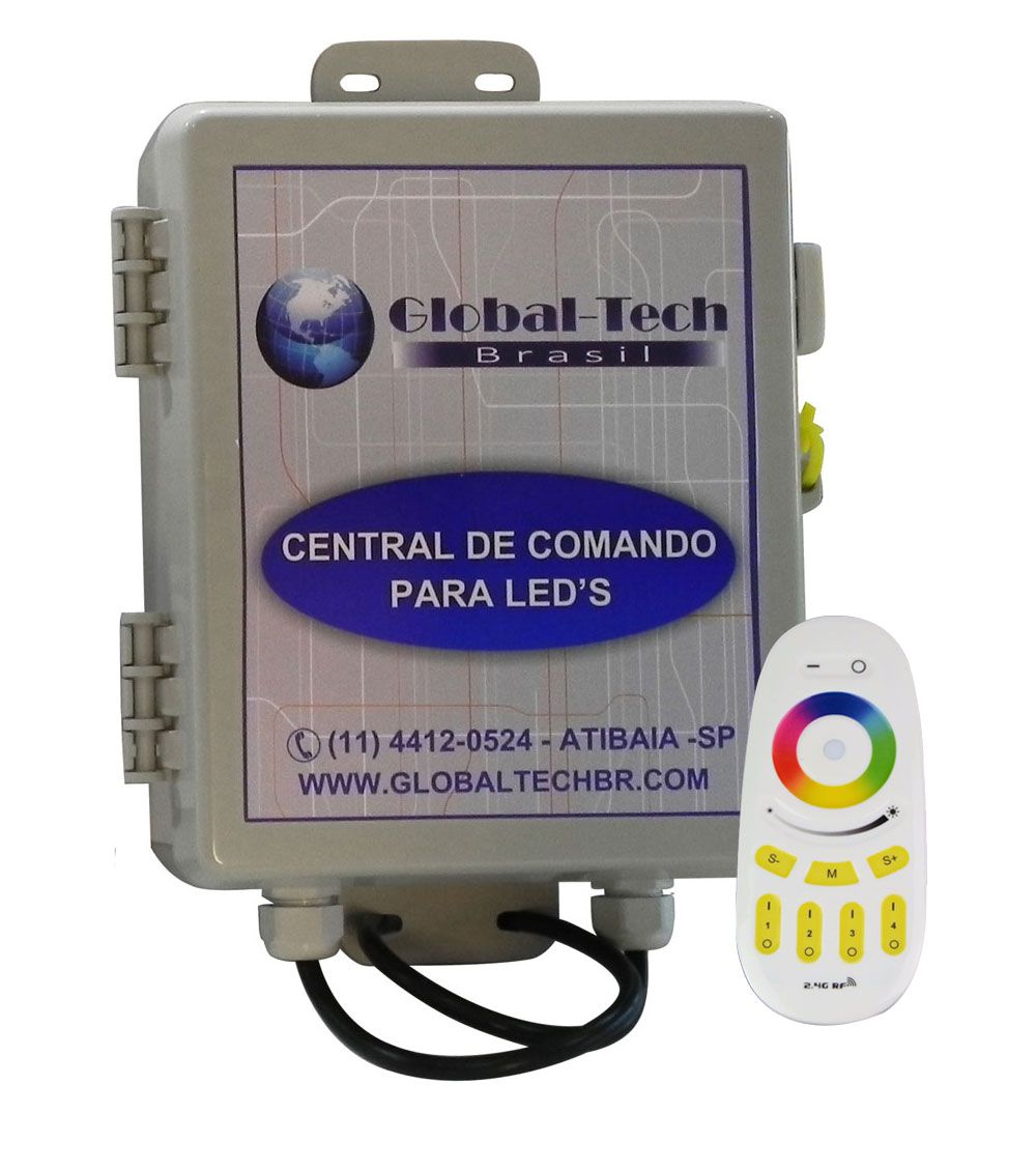 Central de Comando Leds PISCINA RGB Colorido 2 Zonas - 120w/10A