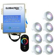 Led Piscina RGB - Kit 7 Led Tholz 4,5W ABS + Central + Controle Touch