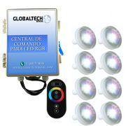 Led Piscina RGB - Kit 8 Led Tholz 4,5W ABS + Central + Controle Touch