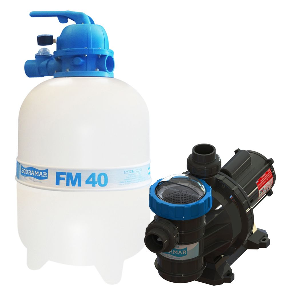 Filtro FM40 e Motobomba 1/2CV BMC50 Sodramar - Piscinas até 50.000 L