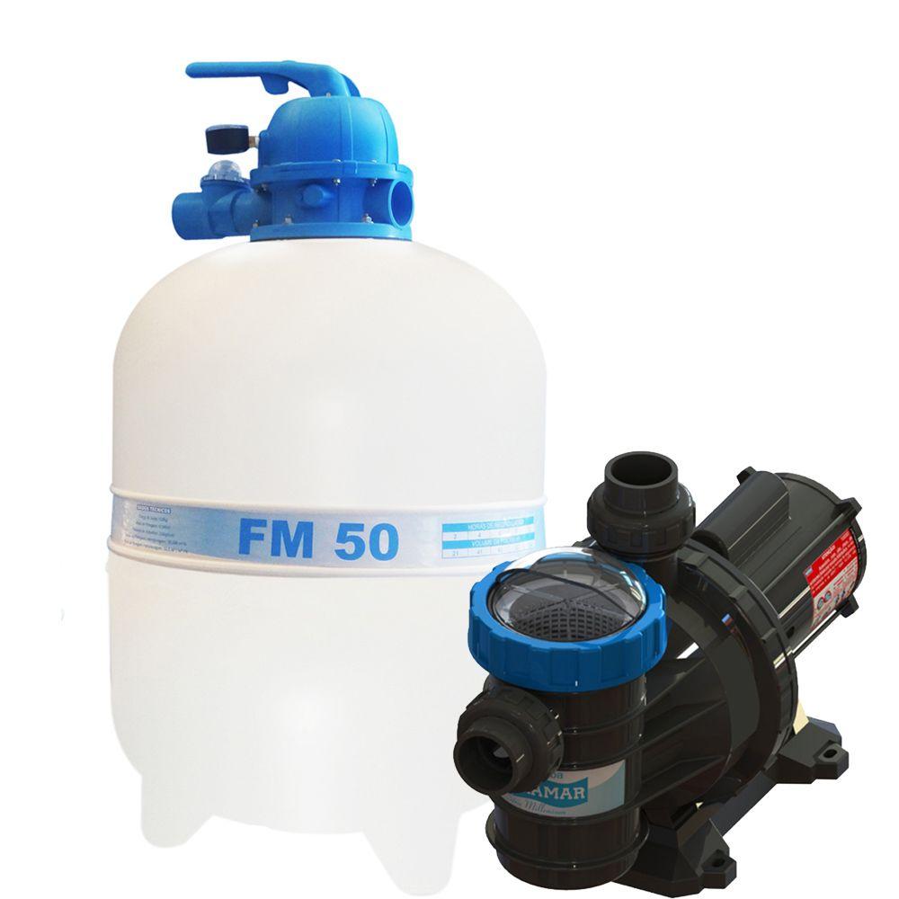 Filtro FM50 e Motobomba 3/4CV BMC75 Sodramar - Piscinas até 78.000 L