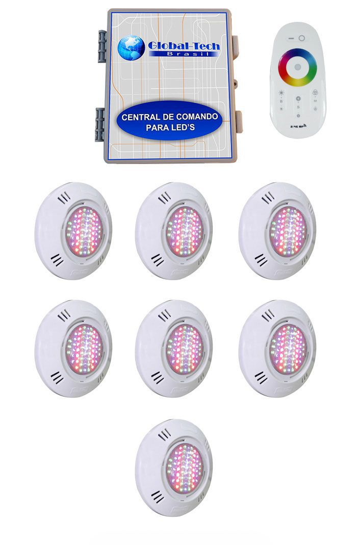 Led Piscina - Kit 7 Pratic SMD + Central + Controle Touch