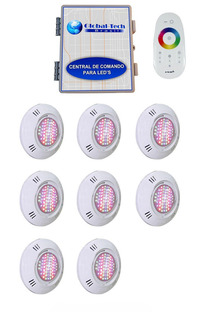 Led Piscina - Kit 8 Pratic SMD + Central + Controle Touch