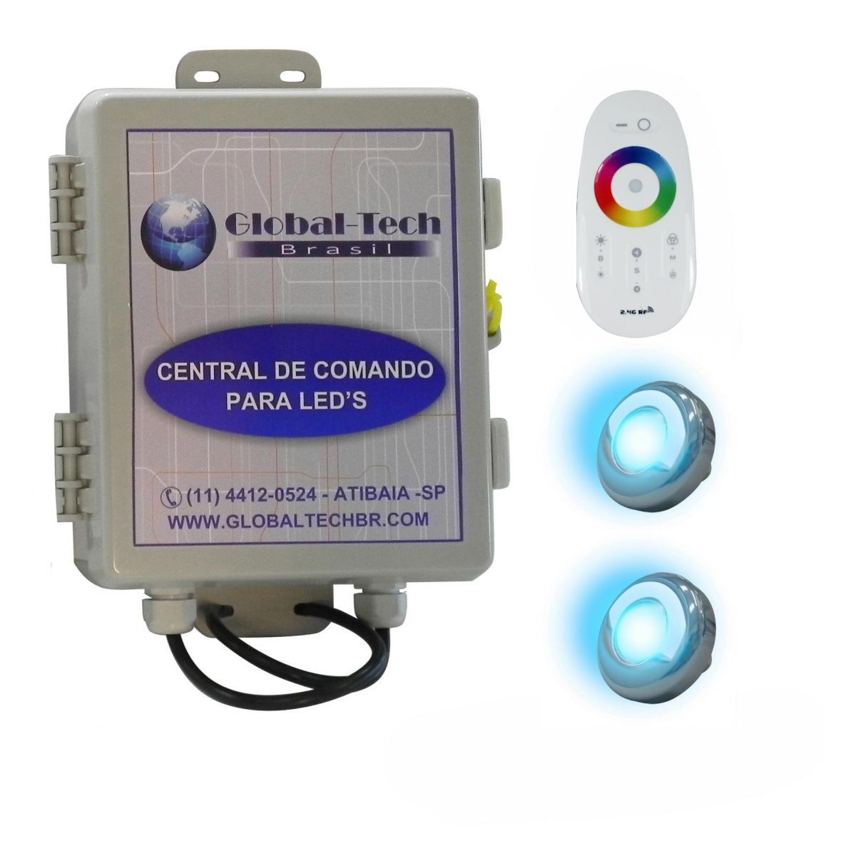 Led Piscina - Kit 2 Led Tholz 9W Inox RGB + Central + Controle Touch