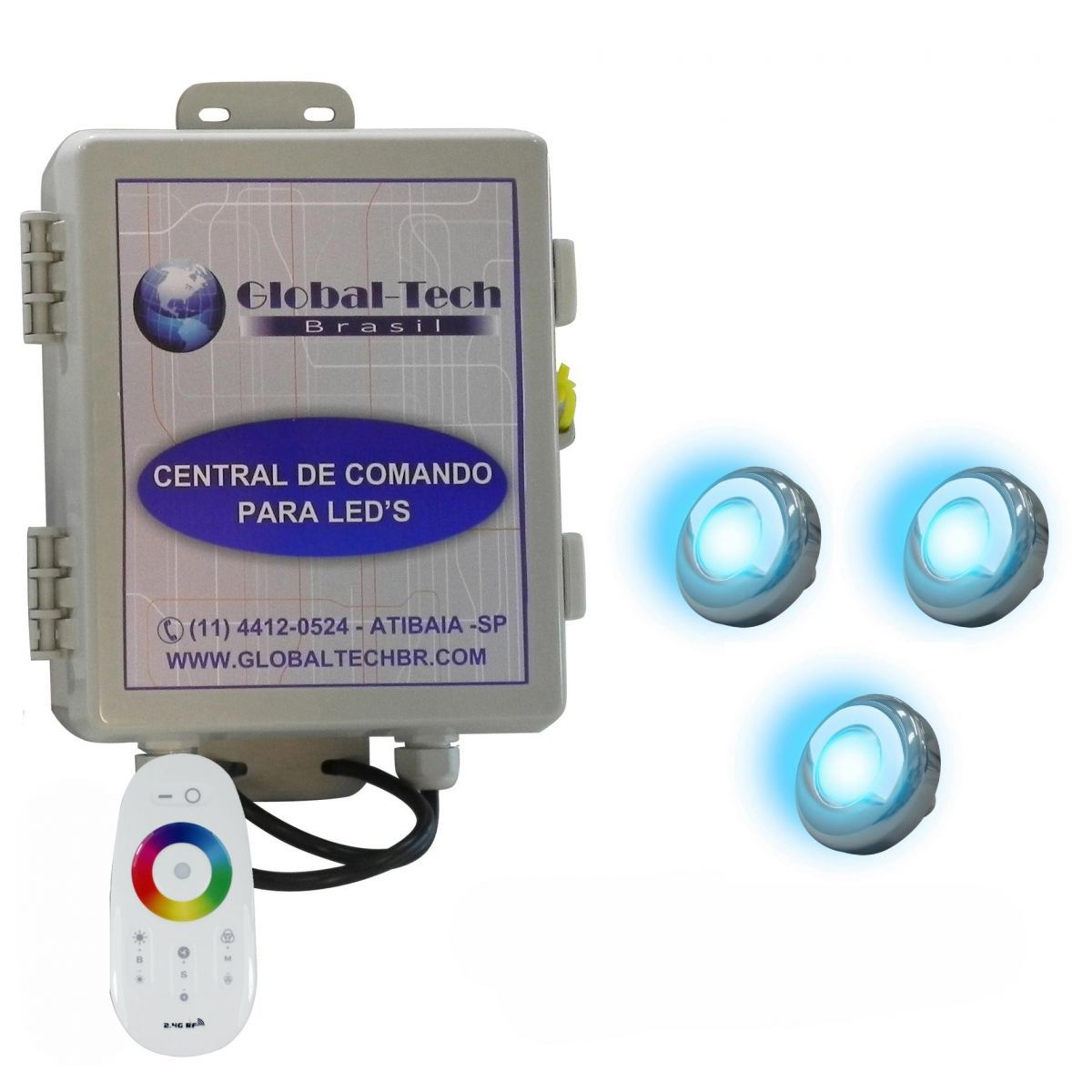 Led Piscina - Kit 3 Led Tholz 9W Inox RGB + Central + Controle Touch