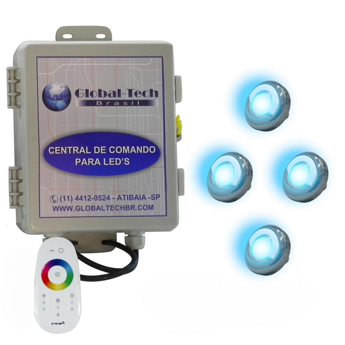 Led piscina kit 4 powerled inox rgb central controle for Kit de piscina