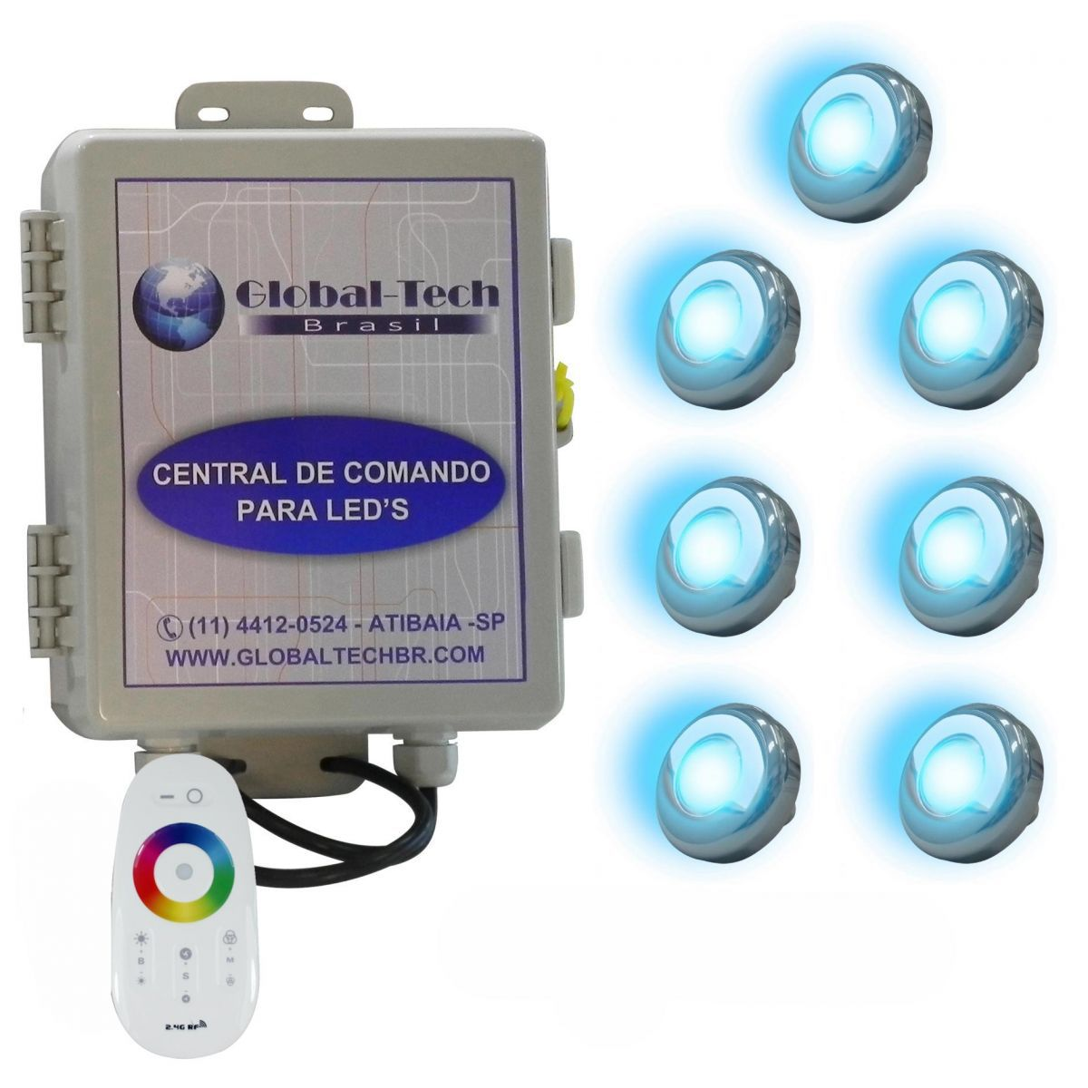 Led Piscina - Kit 7 Led Tholz 9W Inox RGB + Central + Controle Touch