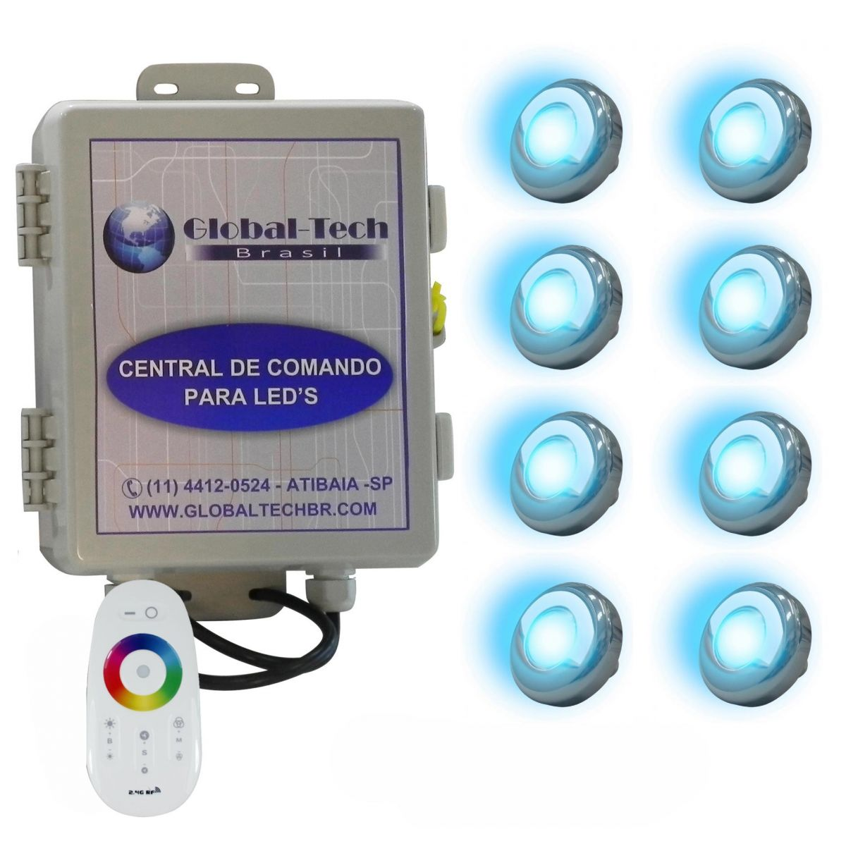Led piscina kit 8 powerled inox rgb central controle for Led para piscinas
